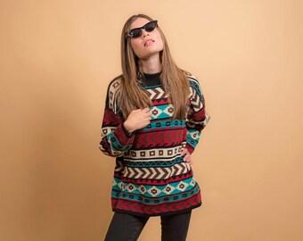 Vintage Southwestern Sweater / Tribal Sweater / Oversized Sweater / Boho Sweater / 80s Sweater Δ fits sizes: S/M/L