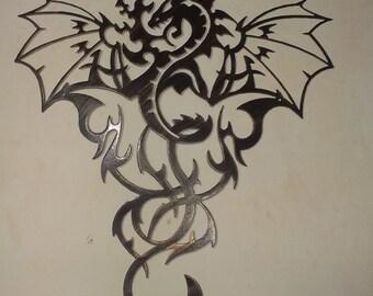 "Dragon Metal Art -Antique Look, 30"" (76cm) Tall"