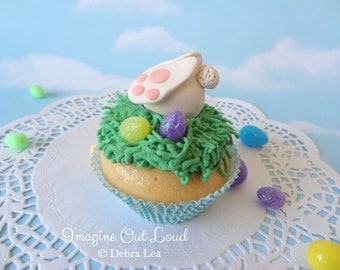 Fake Cupcake Handmade Easter Spring Faux Vanilla Fondant Bunny Butt Eggs Rabbit Home Decor