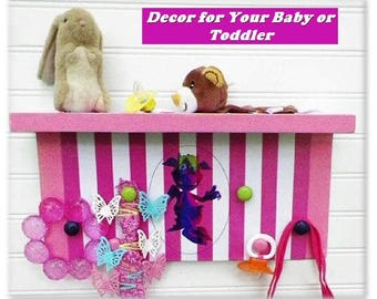 "Nursery or Kids' Room Organizer Shelf Featuring 'Movi' the Monster Kid. 15""x7""x4"". Children Love the Happy Monster. Great New Baby Gift"