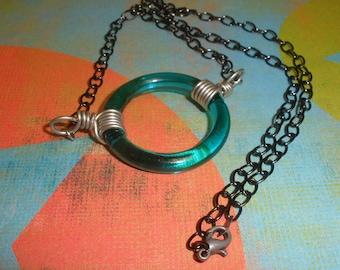 Aqua Blue Glass Ring Necklace
