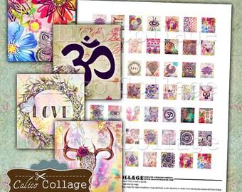 Wander Collage Sheet, Boho Collage Sheet, Scrabble Tile Images, Digital Images, Digital Download, Printable Images, Images for Jewelry