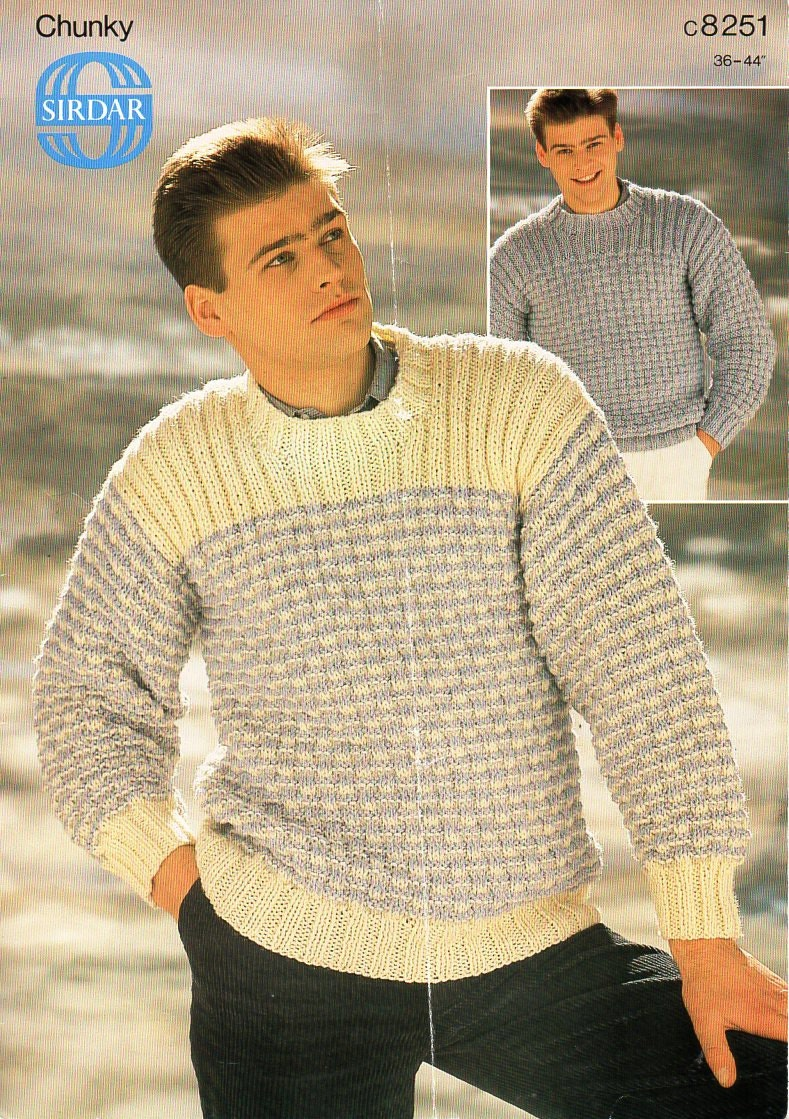 mens sweater knitting pattern PDF mens chunky sweater crew