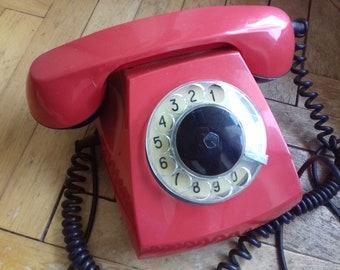 Vintage Soviet Rotary Telephone TAN 70 - 5 made in 1981/ Red retro phone from 80's-USSR