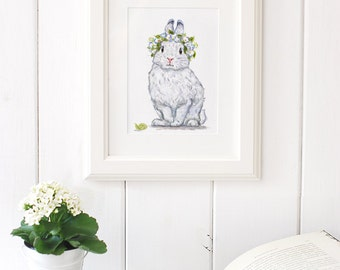 Bunny Art Print, Bunny Painting, Floral Bunny, Giclee Print,Nursery Art ,Archival art print, Nursery decor,White Rabbit art print