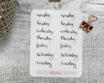 Days Week lettering Sticker Planner