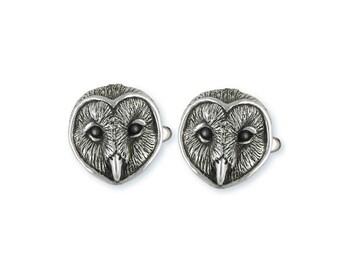 Barn Owl Cufflinks Jewelry Sterling Silver Handmade Bird Cufflinks OW3-CL