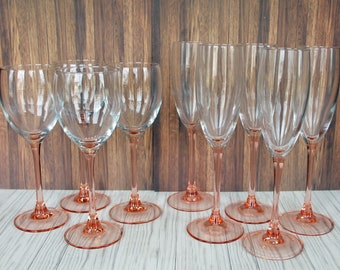 Vintage Luminarc Rose Stemware Set of Wine Glasses & Fluted Champagne Glasses Cristal D'Arques Durand Pink and Clear