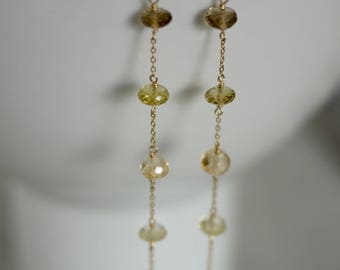 Smoky and lemon quartz, light yellow citrine rondelle and chain earrings