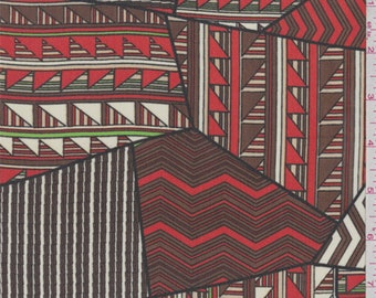 Brown/Fire Red Triangle Patchwork Polyester Chiffon, Fabric By The Yard