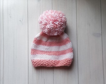 Knit Baby Hat, Pink Baby Hat, Striped Baby Hat, Baby Girl Knit Hat, PomPom Hat, Baby Girl Clothes, Knit Hat Baby, Baby Girl Gift