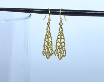 Victorian Lacey Filigree Raw Brass Earring Dangles