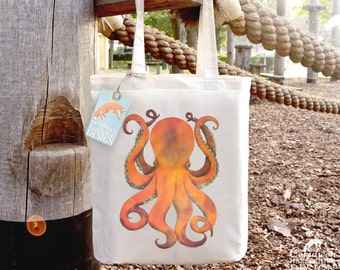 Octopus Tote Bag, Ethically Produced Shopping Bag, Reusable Shopper Bag, Cotton Tote, Shopping Bag, Eco Tote Bag, Reusable Grocery Bag