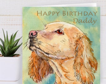 Personalised Dog Card, Birthday Card, Cocker Spaniel, Thank you, Card For her, Card For Him, Card For Dad, Dog walker, Dog Lovers Card