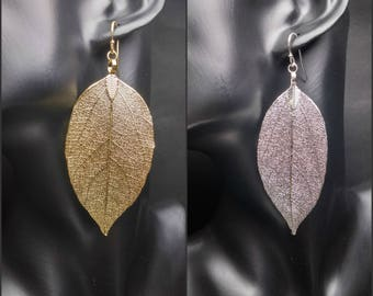 Real leaf earrings Statement earrings Gold boho earrings Gold leaves Long dangle earrings 14K Gold earrings Boho jewelry Gift for women