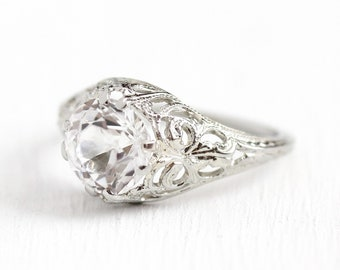 Filigree Engagement Ring - 18k White Gold 2.19 Carat Created White Sapphire - Vintage Size 5 1/2 Alternative Colorless Fine Art Deco Jewelry