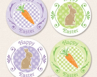 Purple Happy Easter Bunny Carrot Printable Cupcake Toppers Party Favor Tags Sticker Instant Download chocolate rabbit gingham flower