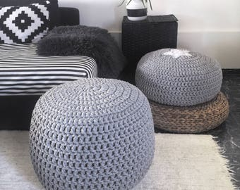 Grey Large Pouf Ottoman, Nursery Footstool, Knit Pouffe, Round Floor Pillow, Nursery Decor, Bean Bag