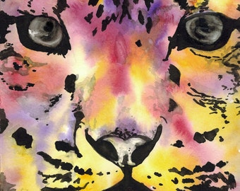 Watercolor Vibrant Color Snow Leopard Giclee