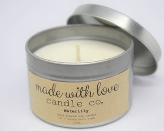 Waterlily Soy Candle Silver Tin Hand Poured 37+ Hours Burn Time
