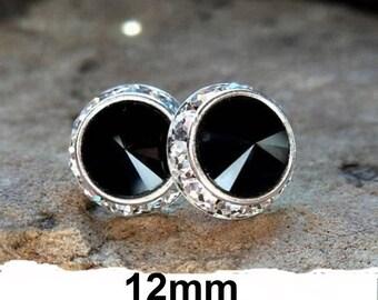 Jet Black Silver Studs, 12mm Earrings,  Swarovski, Surrounds Stud Earrings,Jet Black Crystal Studs ,Flat Back Studs, Halo Earrings