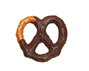 One pound of dark chocolate covered Gourmet hard pretzels. Salted pretzel dipped in dark chocolate. 54% Cocoa. About 21 pretzels.