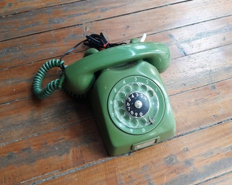 Vintage Green Ericsson Rotary Phone (Works)