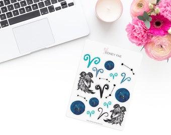 Zodiac Stickerset-Watercolour sticker-Pretty planning-scrapbooking-bullet journaling