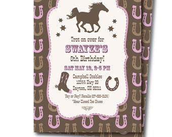 Horse Party Invitation, Girls Western Horse Birthday Invitation, Editable Digital Horse Party Invitation, Instant Download, Templett