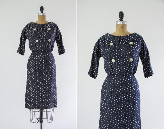 vintage 1950s wiggle dress | vintage silk polka dot dress | small medium