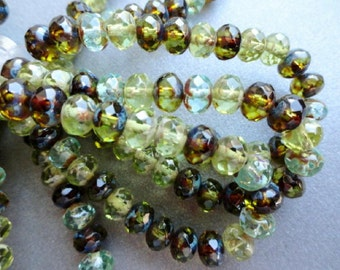 6x4mm Faceted Czech Glass Donuts - Fire Polished Olive Green Picasso Mix Rondells