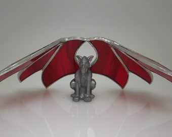 Gargoyle Stained Glass with Ruby Red Wings - Made to Order (GAR002)