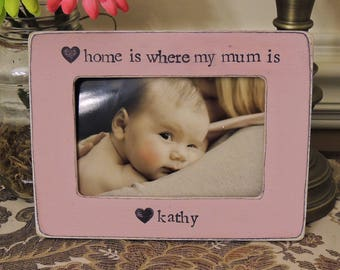 Home Is Where My Mum is Mother's Day Frame Gift Mom Birthday Mother Gift Picture Frames Baby shower Pregnancy Expecting Nursery Decor