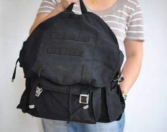 Vintage BLACK CANVAS BACKPACK , outdoor backpack ..........(567)