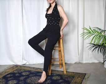 black jumpsuit / halter jumpsuit / stirrup jumpsuit / backless jumpsuit / pearl embellished / pleated jumpsuit / stretch / black bodysuit