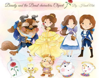Cute Beauty and the Beast, Cute character clipart,Instant Download,PNG file - 300 dpi