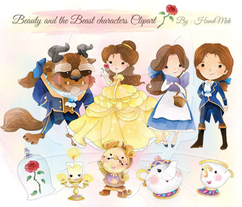 Cute Beauty And The Beast Character ClipartInstant