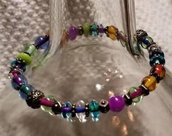 Handmade Bracelet - Jewel Tones w/ Bronze Highlights - Stretchy