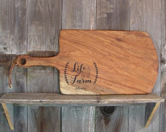 Life is Better on the Farm, Custom Engraved Cutting Board, laser engraved with family name, business logo, reclaimed Texas Pecan or Mesquite