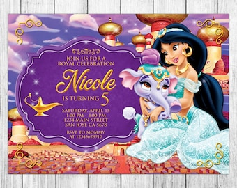 Princess Jasmine Invitation, Princess Jasmine Birthday Invitation, Princess  Jasmine Birthday Party, Princess Jasmine Thank You Card