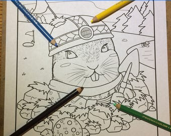Animal Doodle Coloring Page for Adult Coloring gopher on golf court illustration in Tangle style download