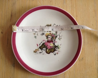 vintage decorative side plate by wood and sons, little miss muffett, vgc