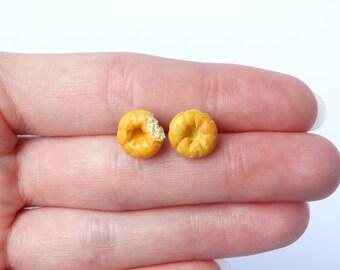 Bagel earrings ear studs asymmetrical miniature food jewelry beigel bread handmade polymer clay bagel post earrings