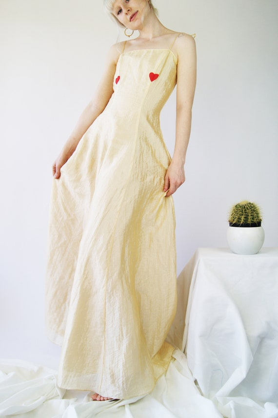 Silk 1990's Slip Dress With Heart Hand Painted Print by Etsy