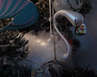 white swan glass ornament