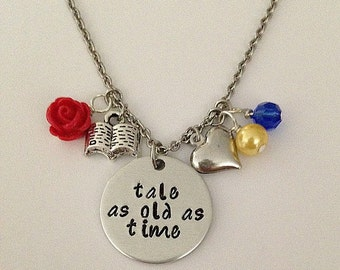 "Disney inspired Beauty and the Beast necklace ""tale as old as time"" Belle hand stamped necklace disney jewelry"