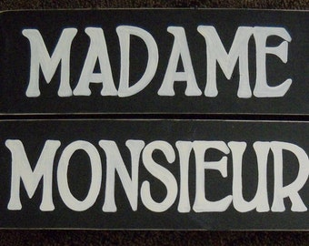 MADAME MONSIEUR Ladies Gentlemen Set of 2 Bathroom Restroom French Sign Wooden HP Chic Plaque You Pick from 10+ Colors