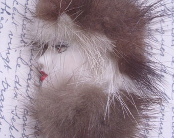 A Large Vintage French 1970's Furry Lady Fashion Brooch.