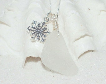 Snowflake Pendant, Sterling Sea Glass Pendant, Snowflake Necklace, Sea Glass Necklace, Seaglass Jewelry,  Sea Glass Gift, Seaglass
