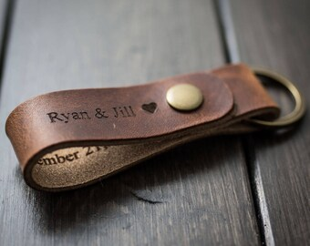 Customized Keychain, Personalized Keychain, Leather Key Chain, Custom Keychain - English Tan